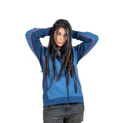 Performance Work Hoodie - Blue on Blue - Best fit for women in moisture wicking performance blend for newly function warmth
