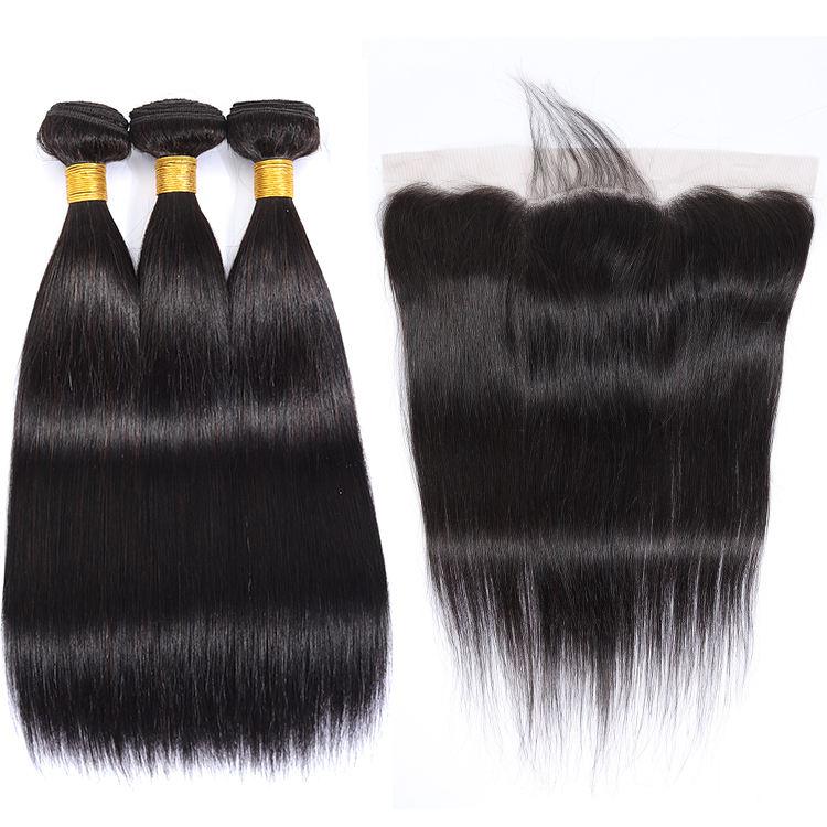 Lace Frontal Closure With Bundles Malaysian Straight Human Hair Bundles Best Selling 2019 Raw Cuticle Aligned Hair