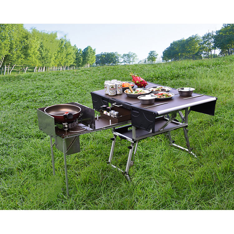 Hiperlion MBL650 outdoor cooking table camping kitchen box mobile kitchen for outdoor camp