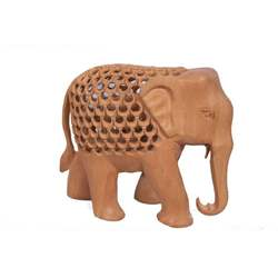 Wooden hand carved Indian  crafts Elephant antique look for gift office decor show case