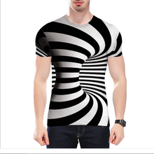 Pullover 3D digital printing T-shirt  custom logo clothes with vortex short-sleeve striped pattern