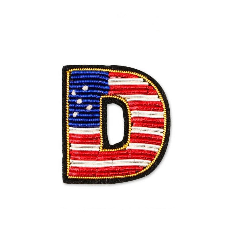 Indian bullion wire hand embroidery star stripe letter brooch cartoon pin decoration D