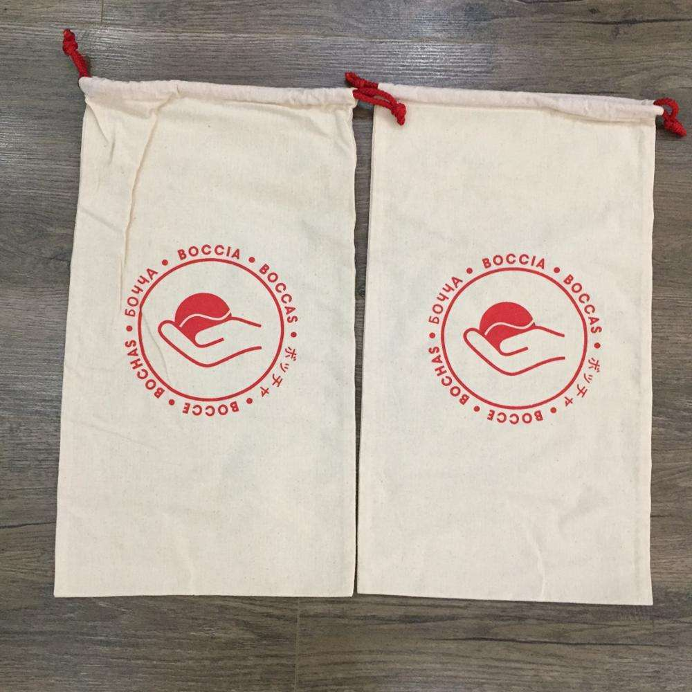 Custom logo printed cotton canvas gym drawstring bag