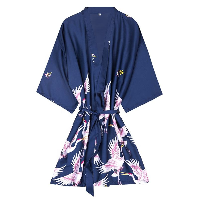 Silk pajama ladies summer mid - sleeved bridal dressing gown large size household dressing gown bathrobe wholesale