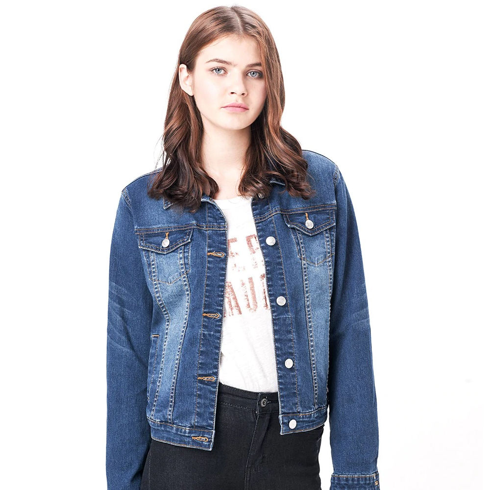 OEM wholesale fashion super cropped blue washed distressed women jeans jacket