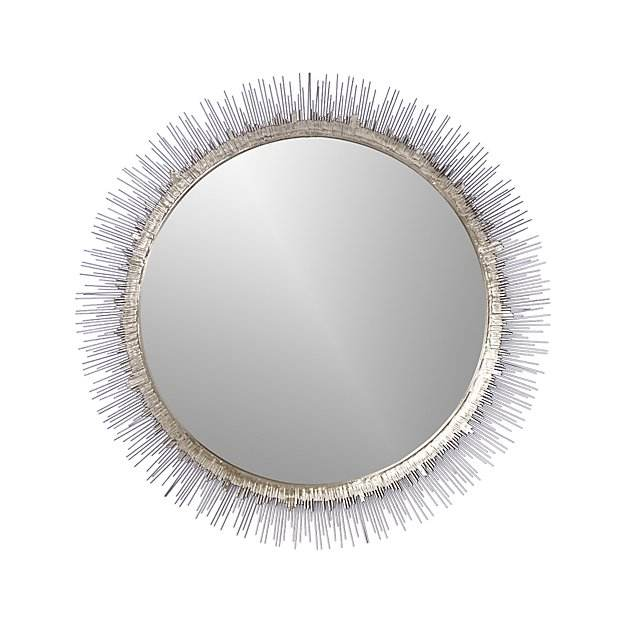 Silver Metal Wire Frame Round Mounted Mirror for Hallway, Bedroom, Bathroom, Living