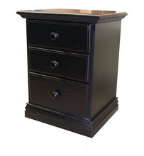3 Drawers Nightstand Black Finish
