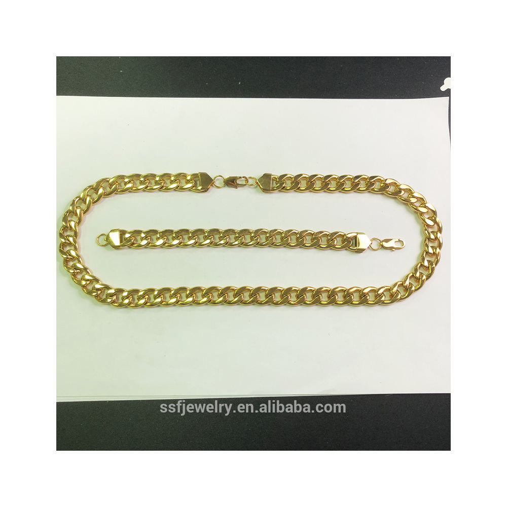 channel fashion custom hip hop 14k gold plated big Cuban Link chain classy jewelry necklaces