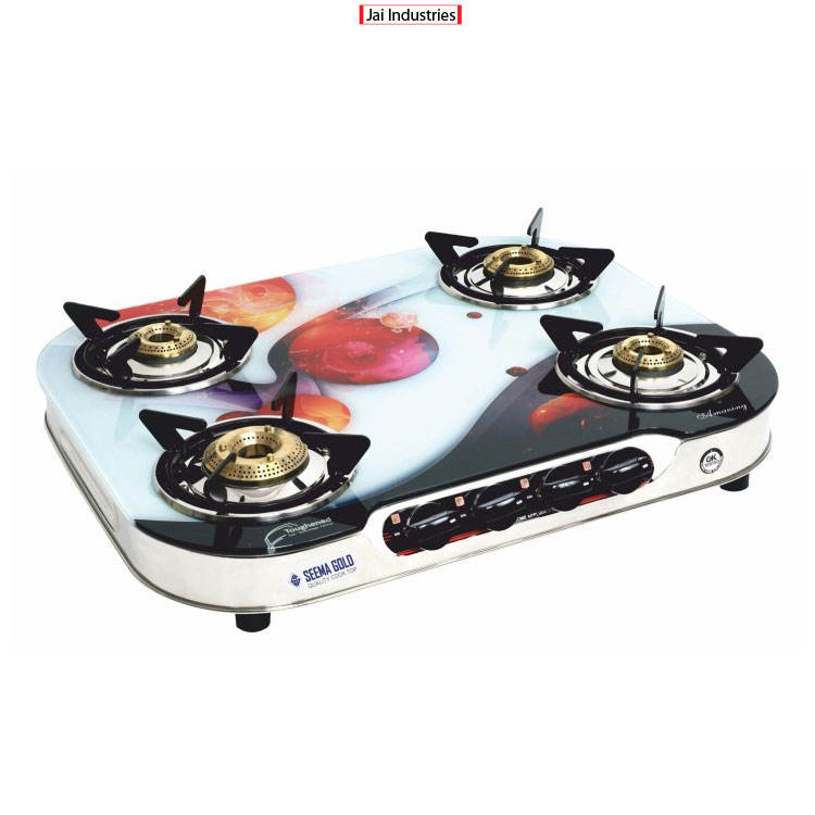 Genuine Indian Exporter of Household Applicable Glass Surface 4 Burner Cooking Gas Stove