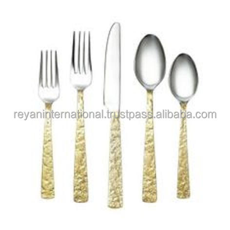 Bulk Production Gold Finished Handmade Stainless Steel Cutlery