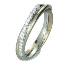 194024 18k Three Tone Gold Half Band for Women Fine Jewelry Engagement Diamond Ring