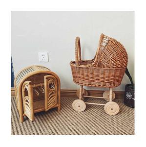 Rattan baby stroller for dolls with wheels kids play toys