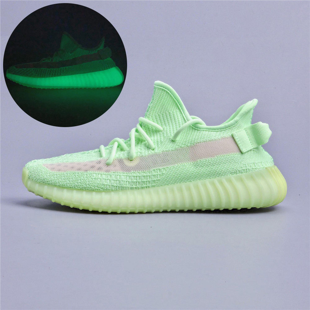 New design woven upper yezzys lundmark reflective glow breathable fashion sneakers yeezy 350 v2 running sport women tenis shoes