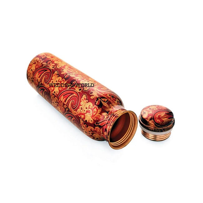 Hand Painted Copper Bottle For Home Hotel Antique Design Best Quality Metal Copper Bottle Available For Sale