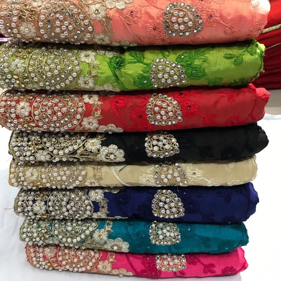 Designer party wear heavy embroidered pearl work Indian ladies ready to wear saree with blouse in Surat Gujarat wholesaler rate