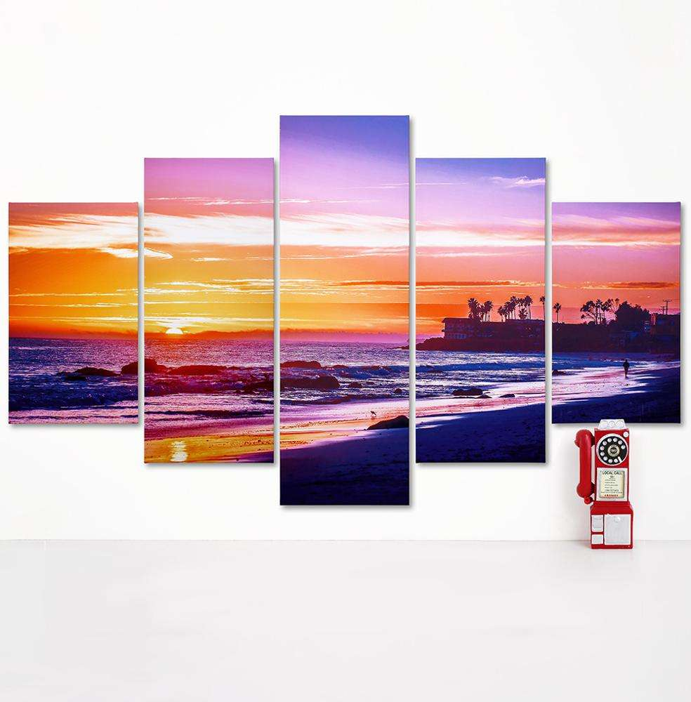 5 pieces China Manufacture Price panoramic landscape canvas prints