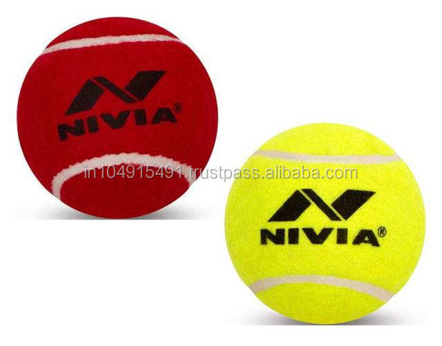 Nivia Heavy Weight Cricket Tennis Balls Red & Yellow