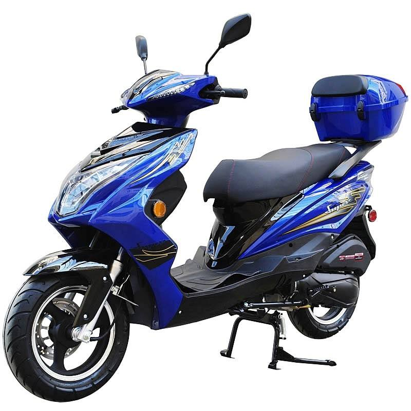 200cc Gas Moped Scooter Super 200 BLUE, Automatic CVT Big Power Engine, Sporty Style (Refurbish, Multiple Chips, SELL AS IS)