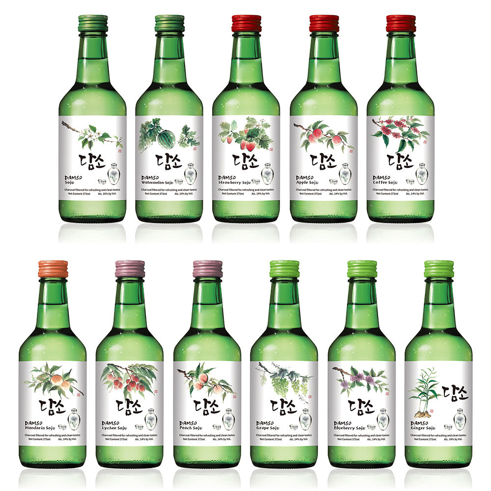 DAMSO, Soju, Korean Soju, 11 Fruit-flavored Soju, Distilled spirits, 375ml