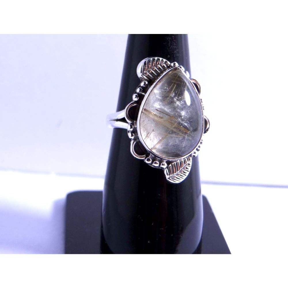 Vintage look golden rutile quartz gemstone 925 sterling silver ring wedding silver ring indian silver jewelry