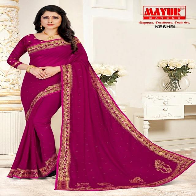 Mayur — Saree brodée en <span class=keywords><strong>soie</strong></span>, nouvelle Georgette <span class=keywords><strong>de</strong></span> <span class=keywords><strong>soie</strong></span>, couleur rose et <span class=keywords><strong>or</strong></span>, travail robuste, mariage, Saree