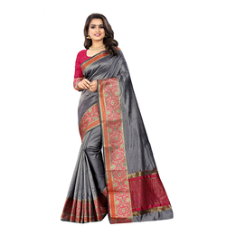 Trendy art silk grey saree with blouse for women