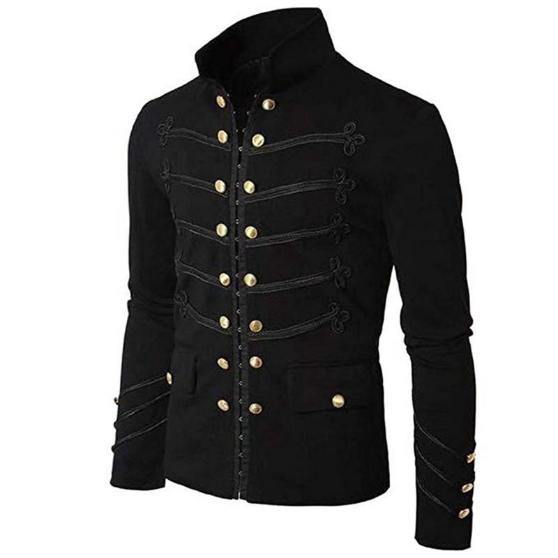 Casual fleece outerwear plus size Gothic military parade jacket top amazon trending comfortable and smooth fabric for men