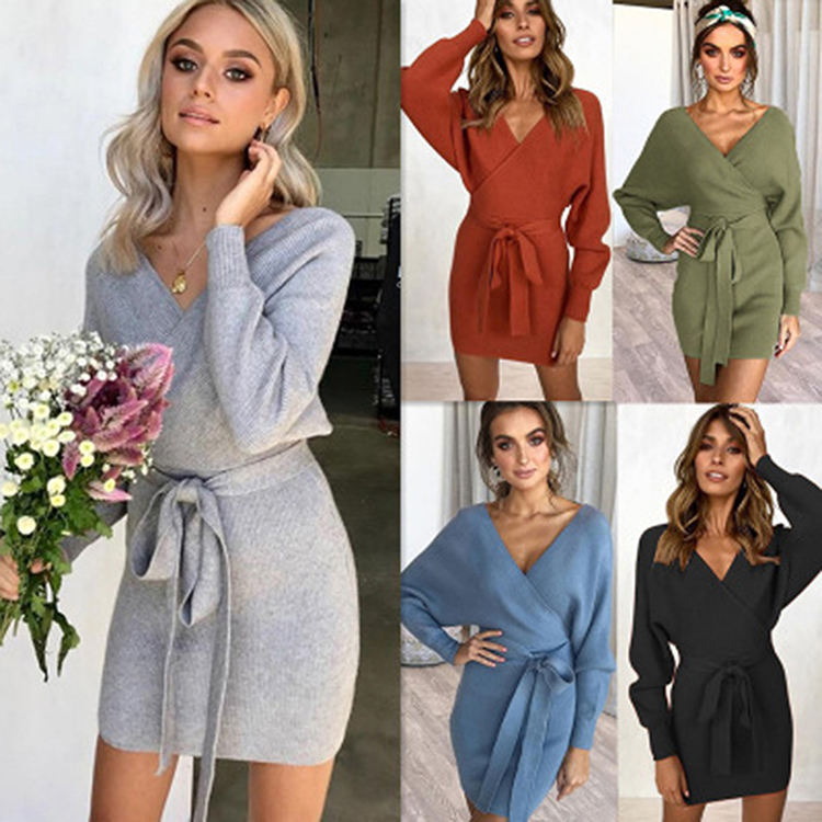 Fast Delivery Glittering Khaki Roll Neck Autumn Lady Knitted Sweater Dress