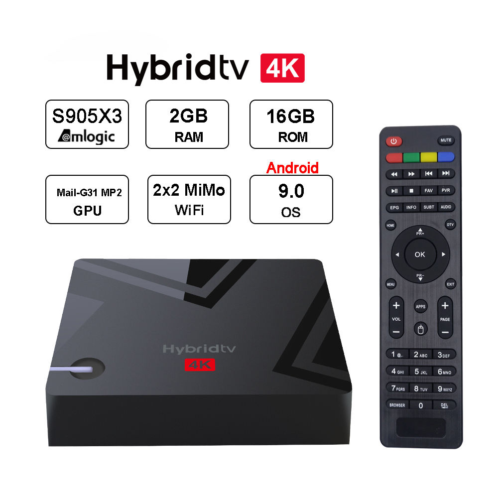 MECOOL K5 <span class=keywords><strong>Android</strong></span> 9.0 2GB 16GB 4K Combo L'internet Satellite Récepteur Streaming Flux Intelligent <span class=keywords><strong>Android</strong></span> TV Box 12V Hybride Décodeur