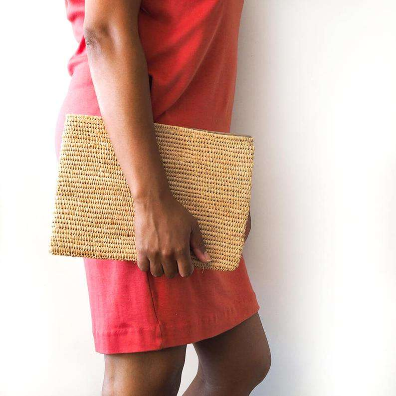 handmade Raffia clutch bag