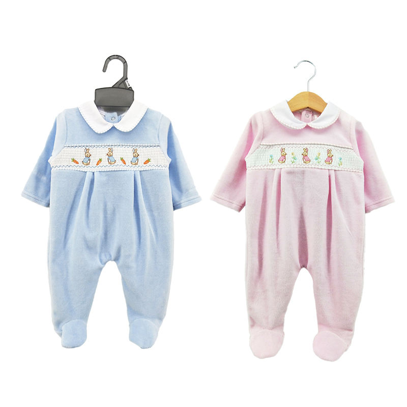 2021 Factory hot sell cute embroidery velour warm baby all season smocking romper for 0-6M baby
