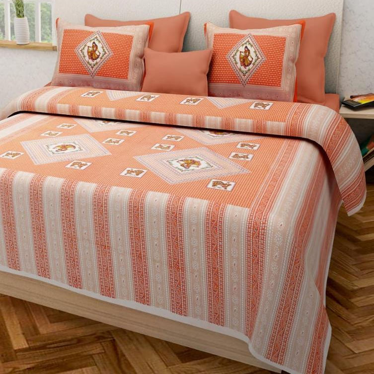 Wholesale King Size Jaipuri 100% Cotton Bed Sheet With Matching Pillow Cover