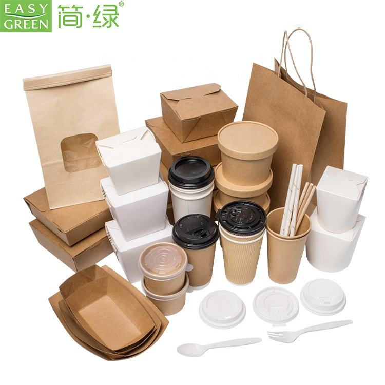 Easy Green custom packaging box paper coffee cup table dinnerware set