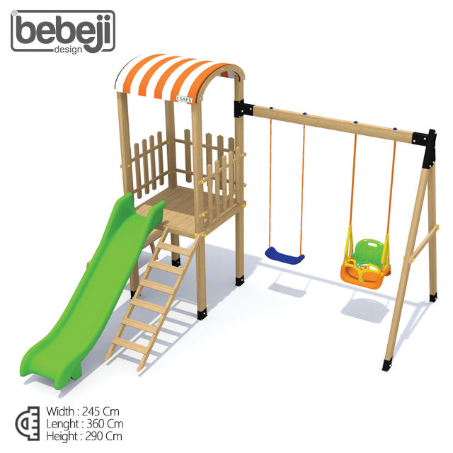 New Outdoor Wooden Playground Equipment For Kids With Double Swing, Climb And Slide