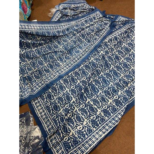 Indigo Cotton Indian Hand Block Printed Pareo Beach Wear Cotton Scarf