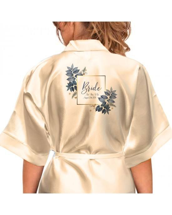 WEDDING Bridesmaid Gown /Robes Blossoms Silk Stain Kimono Robe Dressing Gown