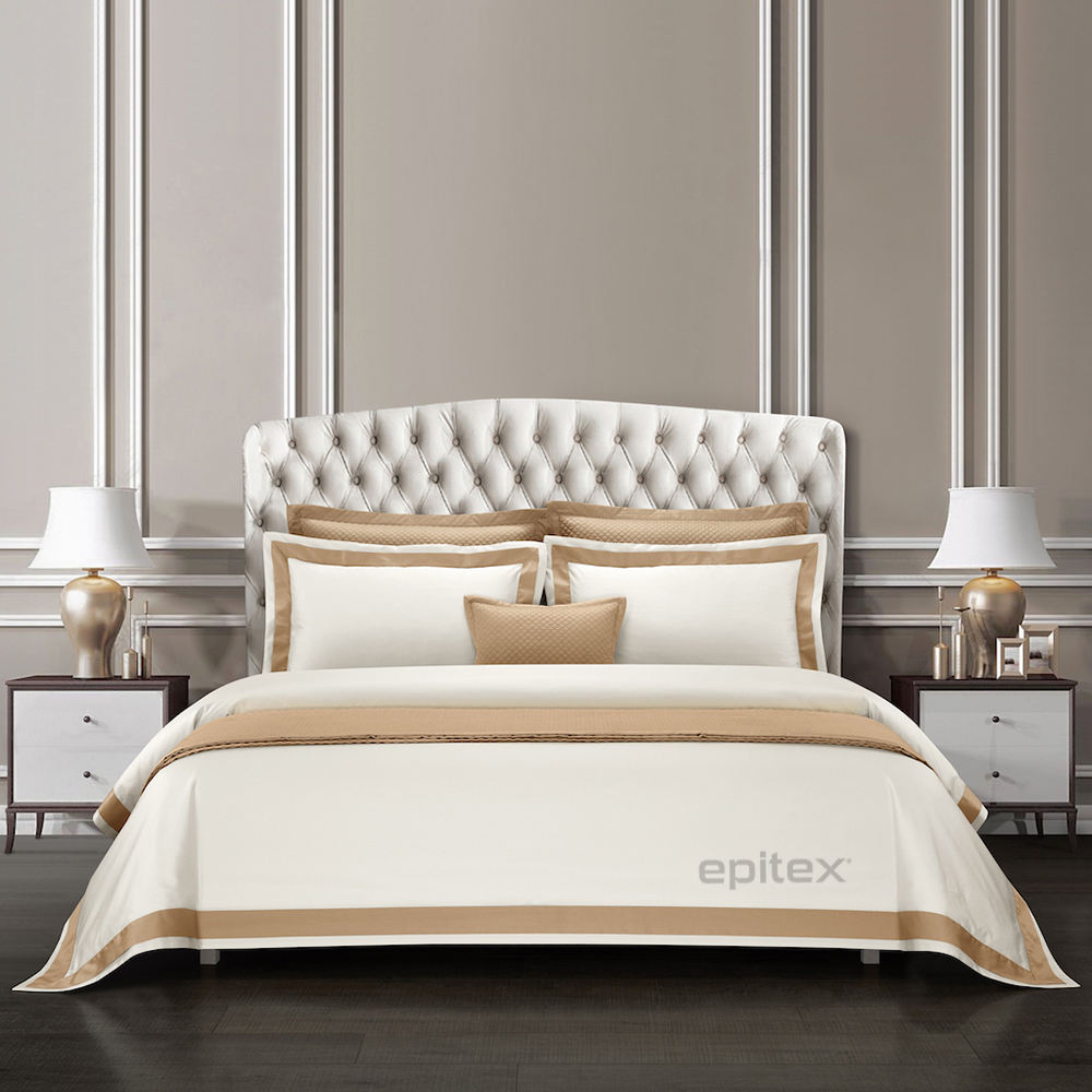 Egyptian Cotton White Silk Bed Linen Sheets With Stripes Pattern Hotel Gallerie From China