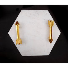 Hexagon White Stone Marble Serving Tray with Arrow Brass Gold Handles Bathroom Marble Shower Tray