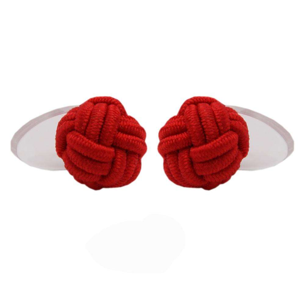 red plain solid color plastic silk knot cufflink