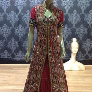 ---New--Bridal-Dress with Heavy--Embroidery--Jacket & Lehenga--Embellished in crystal glass beads stone work for Wedding=2021...