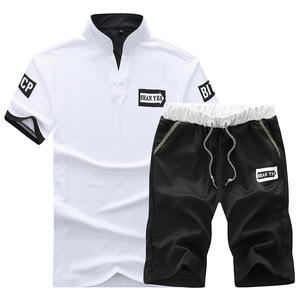 Custom Two Piece Set Men Short Sleeve T Shirt Cropped Top+Shorts Men'S Tracksuits OEM 2020 New Causal Sportswear Tops Short Pant