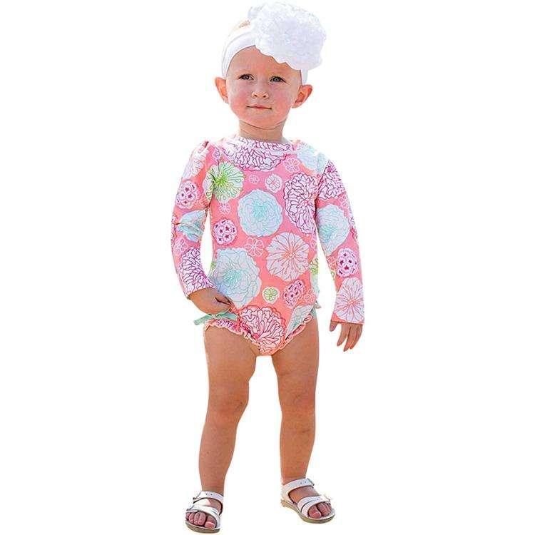 Flower sublimation child child swimsuit models swimming suit girl kids swimwear