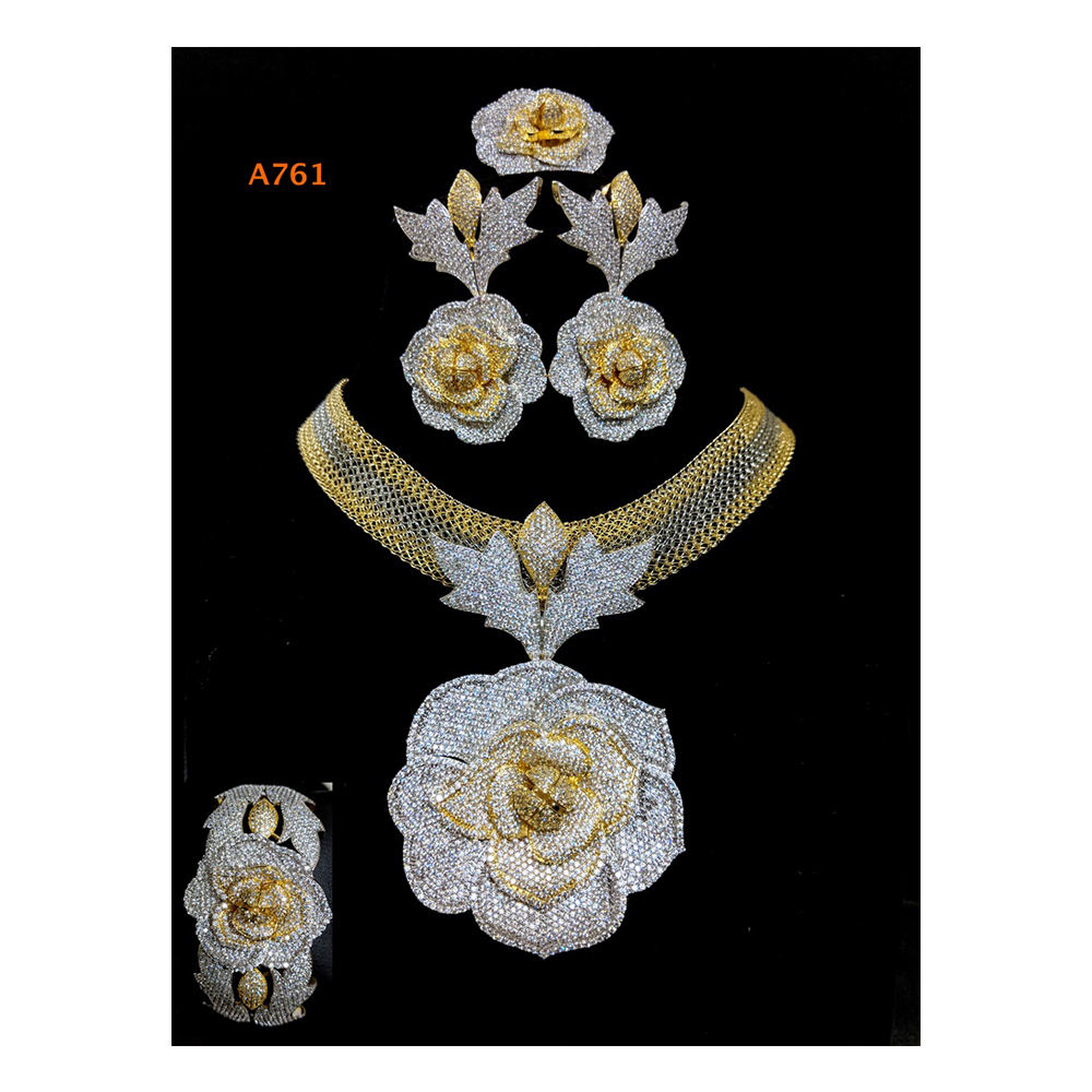 New Classic Beautiful Jewellery Set African American Diamond Bridal Gift