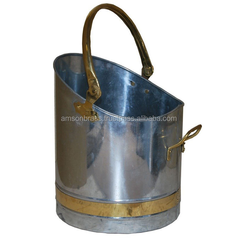 Galvanized Coal Bucket Golden Handle & Bend Coal Pail