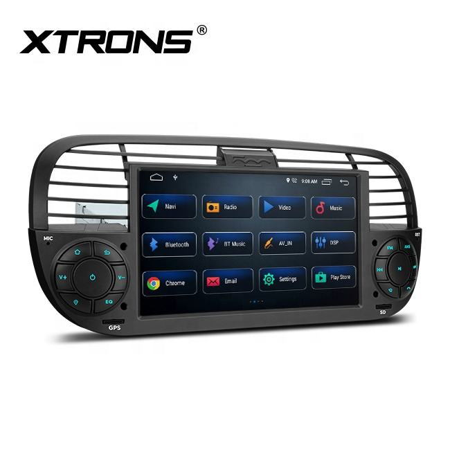 "XTRONS 7 ""android 10.0 único din car multimedia player para Fiat 500 com built-in DSP"