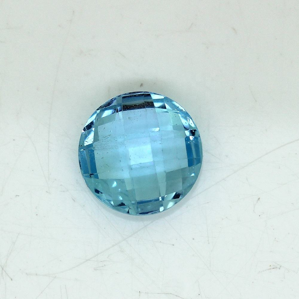 Natural Sky Blue Color Topaz 14mm Round Briolette Cut Handmade Loose Gemstone Handcraft Ring Jewelry Making
