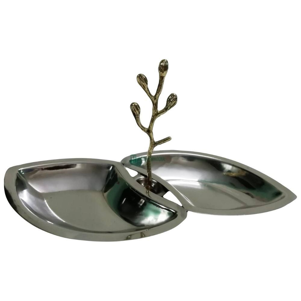 Elegant Metal Serving Dish Stand - Handmade Aluminum Dry Fruit Platters - Leaf Design Snack Serving Bowl - India Manufacturers