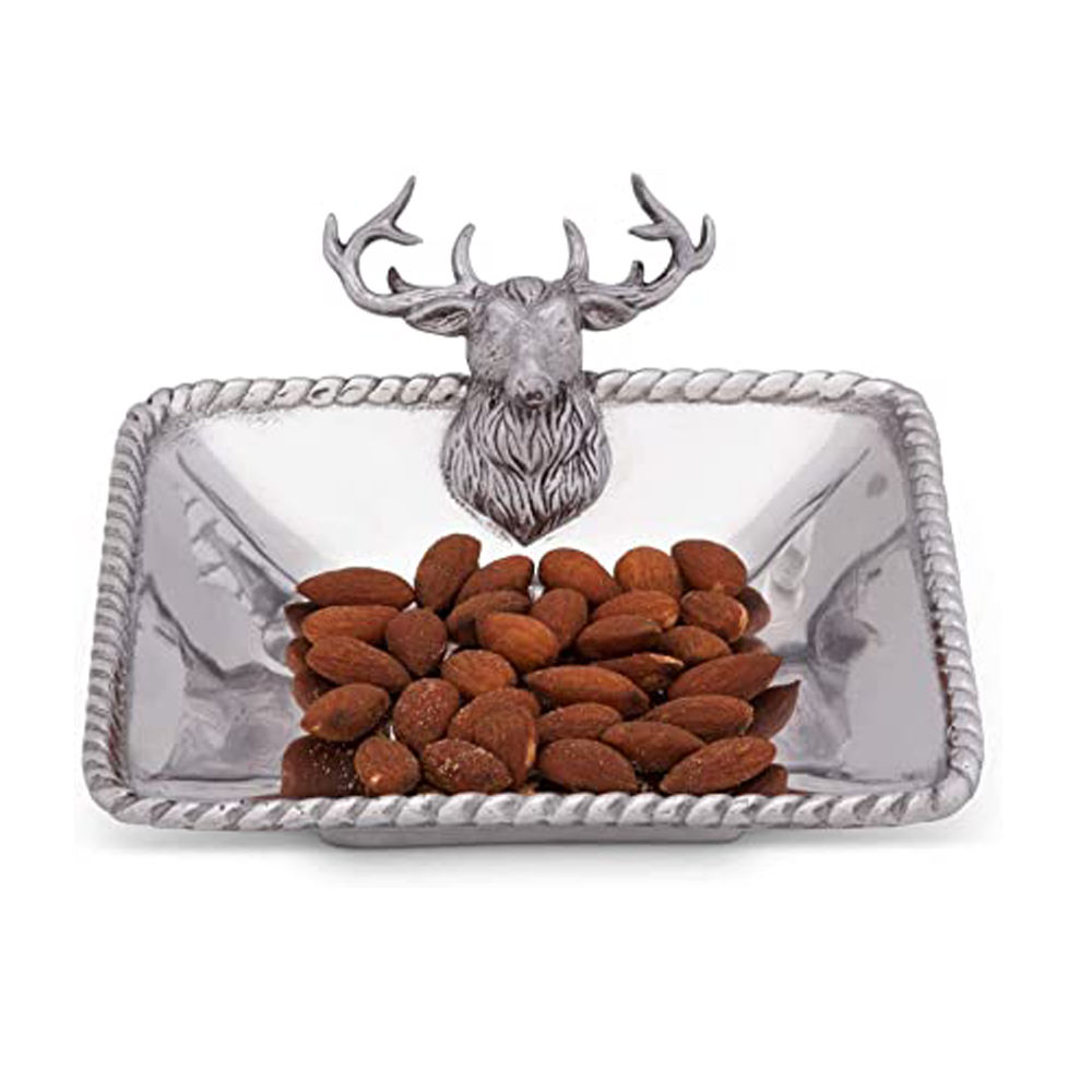 Silver Shiny Polish Square Nuts Bowl With Deer Handle Manufacturers and Wholesale