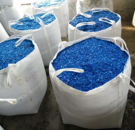 buy Clean Recycled HDPE blue drum plastic scraps, blue HDPE