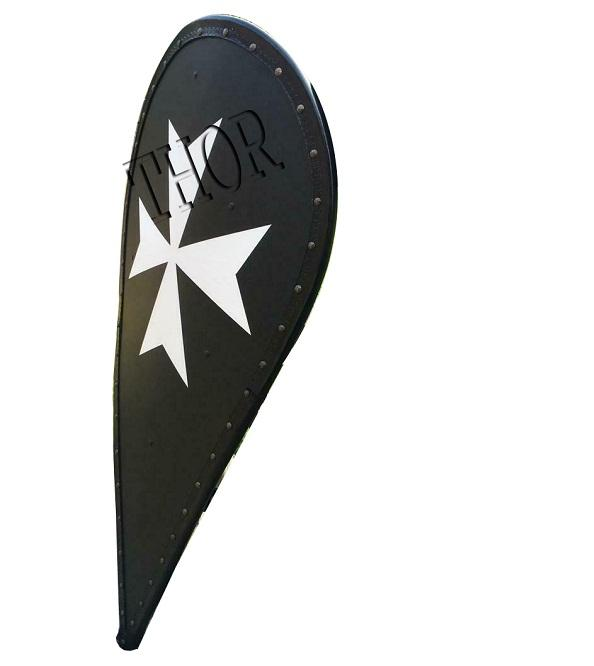 Medieval Knight Templar Crusader Metal Shield Armor with Black Cross Armour Shield
